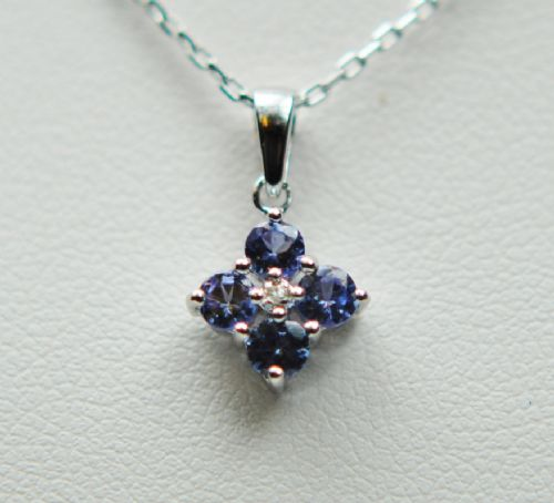 Tanzanite And Diamond Fancy White Gold Necklace